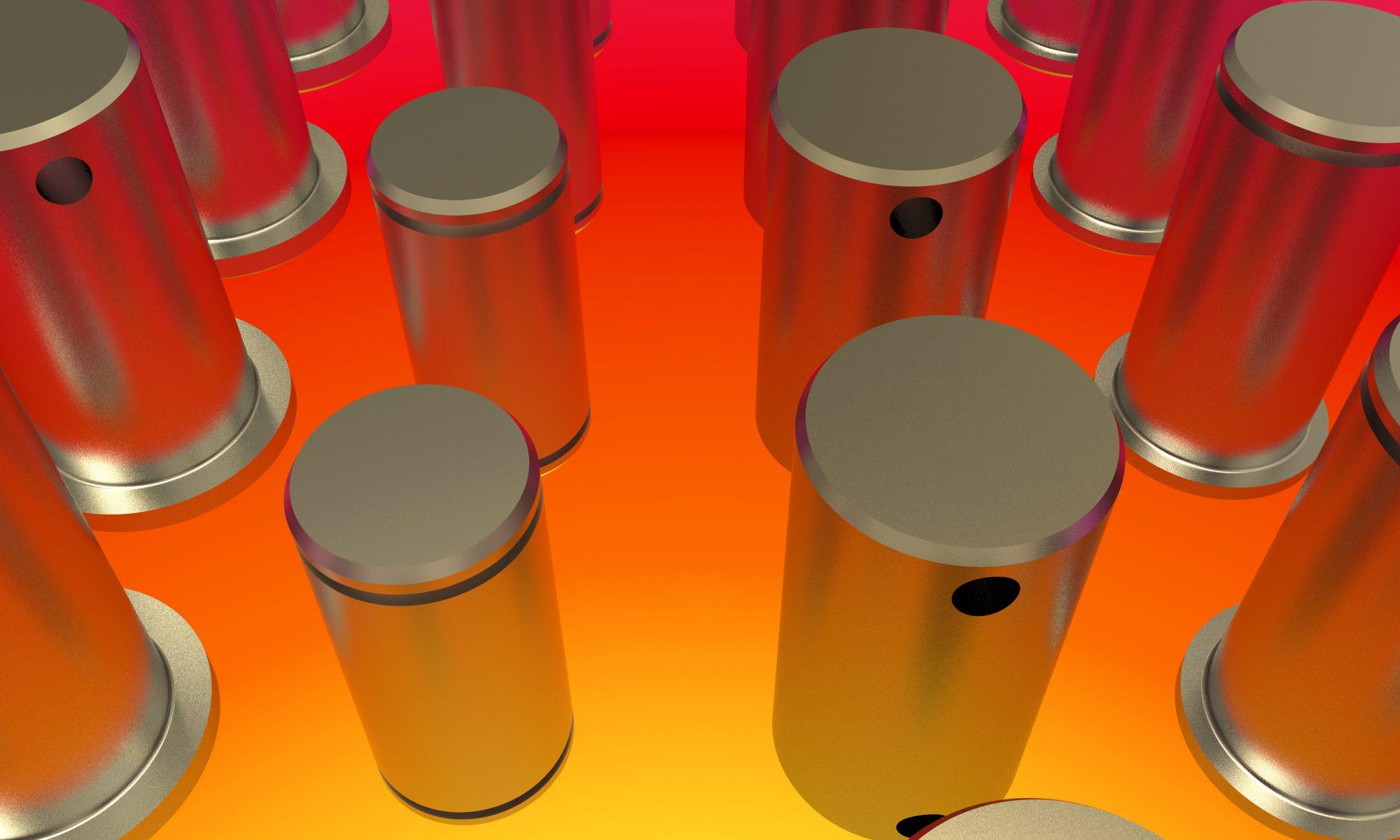 metal parts on a glowing orange hot oven floor