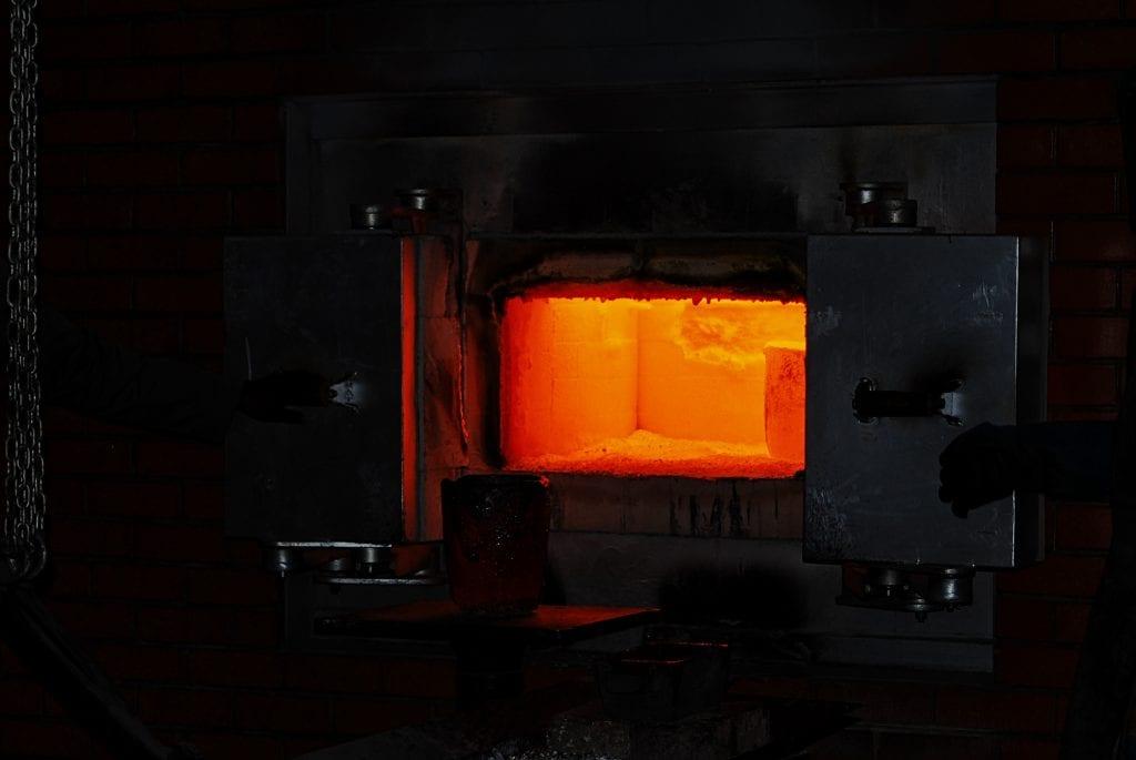 open door to a hot furnace interior