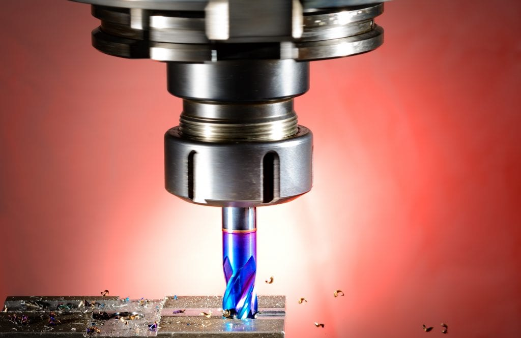 cnc milling machine - spindle with blue cutter